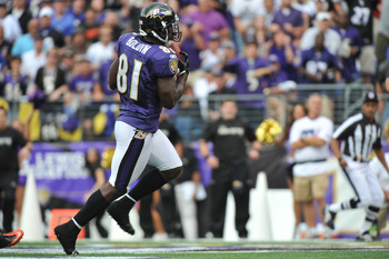BALTIMORE - SEPTEMBER 26:  Anquan Boldin #81 of the Baltimore Ravens scores one of his three touchdowns against the Cleveland Browns  at M&T Bank Stadium on September 26, 2010 in Baltimore, Maryland. The Ravens defeated the Browns 24-17. (Photo by Larry F