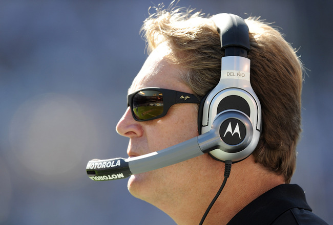 SAN DIEGO - SEPTEMBER 19:  Head coach Jack Del Rio of the Jacksonville Jaguars on the sidelines during a 38-13 loss to the San Diego Chargers at Qualcomm Stadium on September 19, 2010 in San Diego, California.  (Photo by Harry How/Getty Images)