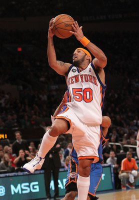 NEW YORK - FEBRUARY 20:  Eddie House #50 of the New York Knicks lays the ball up against the Oklahoma City Thunder at Madison Square Garden on February 20, 2010 in New York, New York. NOTE TO USER: User expressly acknowledges and agrees that, by downloadi