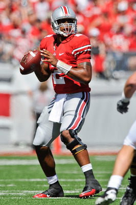 COLUMBUS, OH - SEPTEMBER 18:  Terrelle Pryor #2 of the Ohio State Buckeyes passes the ball against the Ohio Bobcats at Ohio Stadium on September 18, 2010 in Columbus, Ohio.  (Photo by Jamie Sabau/Getty Images)