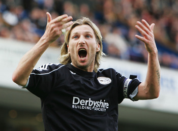 BLACKBURN, UNITED KINGDOM - MAY 03:  Robbie Savage of Derby asks the fans for some support during the Barclays Premier League match between Blackburn Rovers and Derby County at Ewood Park on May 3, 2008 in Blackburn, England.  (Photo by Matthew Lewis/Gett