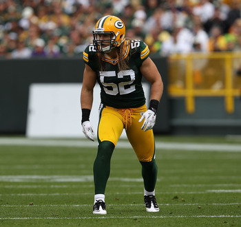 GREEN BAY, WI - SEPTEMBER 19: Clay Matthews #52 of the Green Bay Packers awaits the start of play against the Buffalo Bills at Lambeau Field on September 19, 2010 in Green Bay, Wisconsin. The Packers defeated the Bills 34-7. (Photo by Jonathan Daniel/Gett