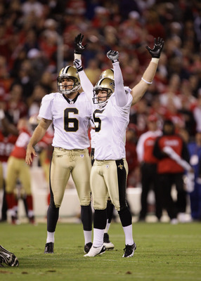 SAN FRANCISCO - SEPTEMBER 20:  Garrett Hartley #5 of the New Orleans Saints celebrates after he kicked the game winning field goal against the San Francisco 49ers at Candlestick Park on September 20, 2010 in San Francisco, California.  (Photo by Ezra Shaw