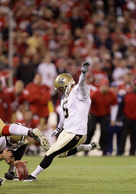 SAN FRANCISCO - SEPTEMBER 20:  Garrett Hartley #5 of the New Orleans Saints kicks the game winning field goal against the San Francisco 49ers at Candlestick Park on September 20, 2010 in San Francisco, California.  (Photo by Ezra Shaw/Getty Images)