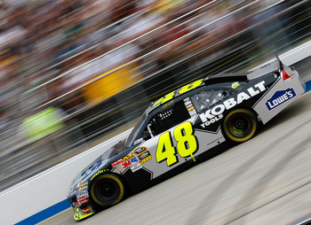DOVER, DE - SEPTEMBER 26:  Jimmie Johnson drives the #48 Lowe's Chevrolet during the NASCAR Sprint Cup Series AAA 400 at Dover International Speedway on September 26, 2010 in Dover, Delaware.  (Photo by Geoff Burke/Getty Images for NASCAR)