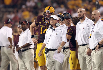 TEMPE, AZ - SEPTEMBER 04:  Head coach Dennis Erickson of the Arizona State Sun Devils during the college football game against the Portland State Vikings at Sun Devil Stadium on September 4, 2010 in Tempe, Arizona.  The Sun Devils defeated the Vikings 54-