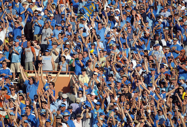 AUSTIN, TX - SEPTEMBER 25:  Fans of the UCLA Bruins cheer during a 34-12 win against the Texas Longhorns at Darrell K Royal-Texas Memorial Stadium on September 25, 2010 in Austin, Texas.  (Photo by Ronald Martinez/Getty Images)