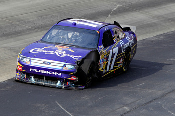 DOVER, DE - SEPTEMBER 26:  Matt Kenseth drives the #17 Crown Royal Ford down the aprin after an incident in the NASCAR Sprint Cup Series AAA 400 at Dover International Speedway on September 26, 2010 in Dover, Delaware.  (Photo by Chris Trotman/Getty Image