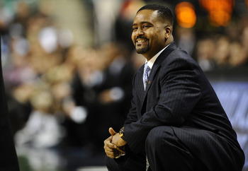 GREENSBORO, NC - MARCH 11:  Frank Haith, head coach of the University of Miami Hurricanes looks from the bench against the Wake Forest Demon Deacons in their first round game in the 2010 ACC Men's Basketball Tournament at the Greensboro Coliseum on March