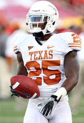 LUBBOCK, TX - SEPTEMBER 18:  Running back Jeremy Hills #25 of the Texas Longhorns at Jones AT&T Stadium on September 18, 2010 in Lubbock, Texas.  (Photo by Ronald Martinez/Getty Images)