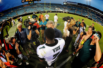 JACKSONVILLE, FL - SEPTEMBER 26:  Quarterback Michael Vick #7 of the Philadelphia Eagles leaves the field after defeating the Jacksonville Jaguars at EverBank Field on September 26, 2010 in Jacksonville, Florida. The Eagles defeated the Jaguars 28-3.  (Ph