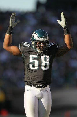 PHILADELPHIA - NOVEMBER 29:  Trent Cole #58 of the Philadelphia Eagles in action against the Washington Redskins during their game at Lincoln Financial Field on November 29, 2009 in Philadelphia, Pennsylvania.  (Photo by Al Bello/Getty Images)