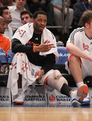 NEW YORK - FEBRUARY 20:  Tracy McGrady #3 of the New York Knicks gestures against the Oklahoma City Thunder at Madison Square Garden on February 20, 2010 in New York, New York. NOTE TO USER: User expressly acknowledges and agrees that, by downloading and