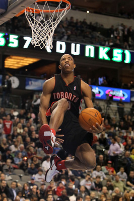 DALLAS - FEBRUARY 12:  DeMar DeRozan #10 of the Toronto Raptors shoots during the Slam Dunk Challenge held at halftime during the T-Mobile Rookie Challenge & Youth Jam part of 2010 NBA All-Star Weekend at American Airlines Center on February 12, 2010 in D