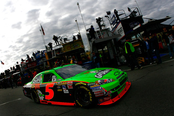 LOUDON, NH - SEPTEMBER 18:  Mark Martin, driver of the #5 GoDaddy.com Chevrolet, drives through the garage area during practice for the NASCAR Sprint Cup Series Sylvania 300 at New Hampshire Motor Speedway on September 18, 2010 in Loudon, New Hampshire.
