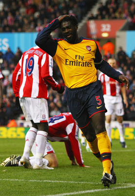 STOKE, UNITED KINGDOM - NOVEMBER 01:  Kolo Toure of Arsenal vents his frustration after coming close to scoring during the Barclays Premier League match between Stoke City and Arsenal at the Britannia Stadium on November 1, 2008 in Stoke, England.  (Photo