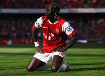 LONDON, ENGLAND - SEPTEMBER 25:  Bacary Sagna of Arsenal looks despondent during the Barclays Premier League match between Arsenal and West Bromwich Albion at the Emirates Stadium on September 25, 2010 in London, England.  (Photo by Julian Finney/Getty Im