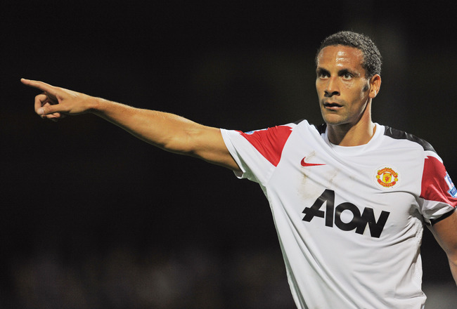 SCUNTHORPE, ENGLAND - SEPTEMBER 22: Rio Ferdinand of Manchester United gestures during the Carling Cup 3rd Round match between Scunthorpe United and Manchester United at Glanford Park on September 22, 2010 in Scunthorpe, England.  (Photo by Michael Regan/