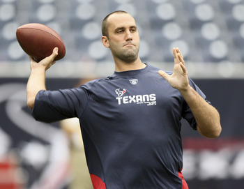 HOUSTON - SEPTEMBER 26:  Quarterback Matt Schaub of the Houston Texans throws a pass during pre-game warm ups before playing the Dallas Cowboys at Reliant Stadium on September 26, 2010 in Houston, Texas.  (Photo by Bob Levey/Getty Images)