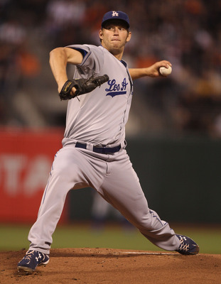 SAN FRANCISCO - SEPTEMBER 14:  Clayton Kershaw #22 of the Los Angeles Dodgers pitches against the San Francisco Giants during a Major League Baseball game at AT&amp;T Park on September 14, 2010 in San Francisco, California. (Photo by Jed Jacobsohn/Getty Image