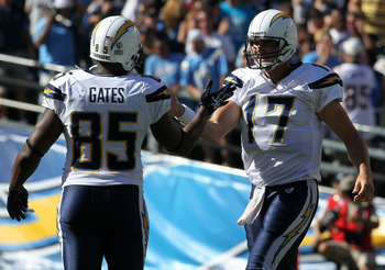 SAN DIEGO - SEPTEMBER 19:  Quarterback Philip Rivers #17 and tight end Antonio Gates #85 of the San Diego Chargers celebrate a Charger touchdown against the Jacksonville Jaguars at Qualcomm Stadium on September 19, 2010 in San Diego, California. The Charg