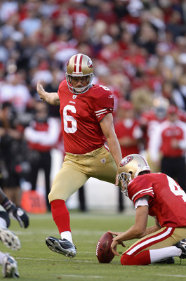 SAN FRANCISCO - SEPTEMBER 20:  Joe Nedney #6 of the San Francisco 49ers kicks a field goal during their game against the New Orleans Saints at Candlestick Park on September 20, 2010 in San Francisco, California.  (Photo by Ezra Shaw/Getty Images)