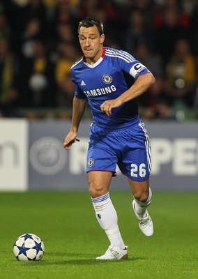 ZILINA, SLOVAKIA - SEPTEMBER 15:  John Terry of Chelsea in action during the UEFA Champions League Group F match between MSK Zilina and Chelsea at the Pod Dubnom Stadium on September 15, 2010 in Zilina, Slovakia.  (Photo by Hamish Blair/Getty Images)