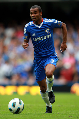 LONDON, ENGLAND - SEPTEMBER 19:  Ashley Cole of Chelsea runs with the ball during the Barclays Premier League match between Chelsea and Blackpool at Stamford Bridge on September 19, 2010 in London, England.  (Photo by Warren Little/Getty Images)