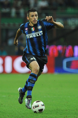 MILAN, ITALY - SEPTEMBER 22:  Lucio of FC Internazionale Milano in action during the Serie A match between FC Internazionale Milano and AS Bari at Stadio Giuseppe Meazza on September 22, 2010 in Milan, Italy.  (Photo by Valerio Pennicino/Getty Images)