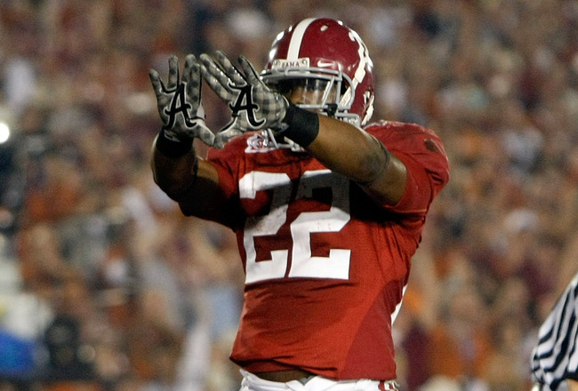 PASADENA, CA - JANUARY 07:  Running back Mark Ingram #22 of the Alabama Crimson Tide celebrates a touchdown against the Texas Longhorns in the second quarter of the Citi BCS National Championship game at the Rose Bowl on January 7, 2010 in Pasadena, Calif