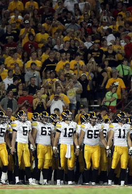 TUCSON, AZ - SEPTEMBER 18:  The Iowa Hawkeyes line up before the college football game against the Arizona Wildcats at Arizona Stadium on September 18, 2010 in Tucson, Arizona. The Wildcats defeated the Hawkeyes 34-27.  (Photo by Christian Petersen/Getty