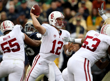 SOUTH BEND, IN - SEPTEMBER 25: Andrew Luck #12 of the Stanford Cardinal passes the ball against the Notre Dame Fighting Irish at Notre Dame Stadium on September 25, 2010 in South Bend, Indiana. (Photo by Jonathan Daniel/Getty Images)