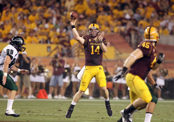 TEMPE, AZ - SEPTEMBER 04:  Quarterback Steven Threet #14 of the Arizona State Sun Devils throws a pass during the college football game against the Portland State Vikings at Sun Devil Stadium on September 4, 2010 in Tempe, Arizona.  The Sun Devils defeate