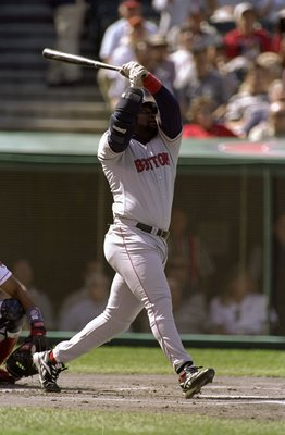 29 Sep 1998:  Infielder Mo Vaughn #42 of the Boston Red Sox in action during the American League Division Playoff Series Game 1 against the Cleveland Indians at Jacobs Field in Cleveland, Ohio. The Red Sox defeated the Indians 11-3. Mandatory Credit: Jona