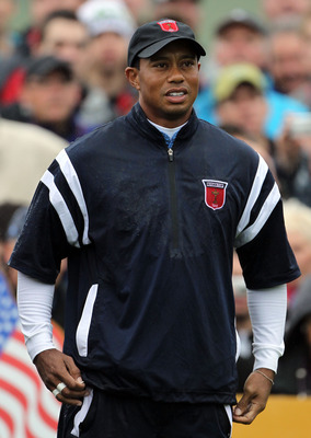 NEWPORT, WALES - SEPTEMBER 29:  Tiger Woods of the USA looks on during a practice round prior to the 2010 Ryder Cup at the Celtic Manor Resort on September 29, 2010 in Newport, Wales.  (Photo by Jamie Squire/Getty Images)