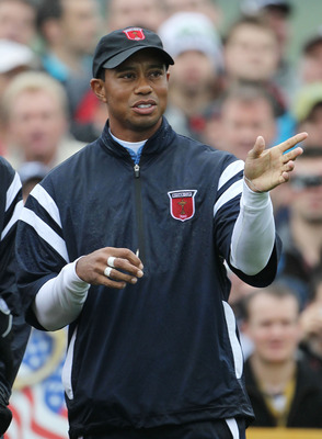 NEWPORT, WALES - SEPTEMBER 29:  Tiger Woods of the USA gestures during a practice round prior to the 2010 Ryder Cup at the Celtic Manor Resort on September 29, 2010 in Newport, Wales.  (Photo by Jamie Squire/Getty Images)