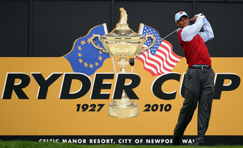 NEWPORT, WALES - SEPTEMBER 28:  Tiger Woods of the USA tees off during a practice round prior to the 2010 Ryder Cup at the Celtic Manor Resort on September 28, 2010 in Newport, Wales.  (Photo by Andy Lyons/Getty Images)