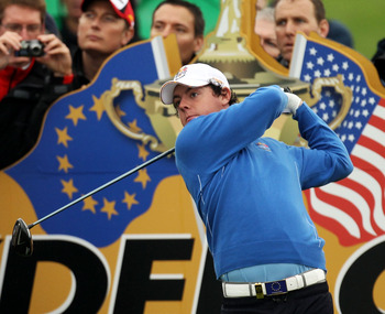 NEWPORT, WALES - SEPTEMBER 29:  Rory McIlroy  of Europe tees off during a practice round prior to the 2010 Ryder Cup at the Celtic Manor Resort on September 29, 2010 in Newport, Wales.  (Photo by Ross Kinnaird/Getty Images)