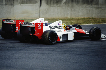 Senna and Prost get into a tangle