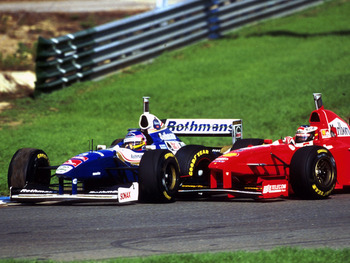 Schumacher tries unsuccessfully to knock Villeneuve out of the championship decider at Jerez.