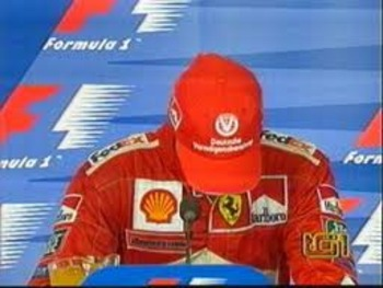 Michael Schumacher breaks down at the post-race press conference