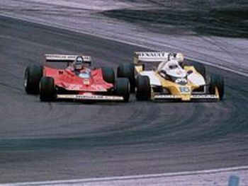 Gilles Villeneuve and Rene Arnoux bang wheels