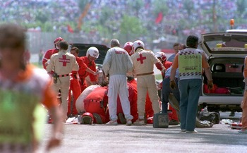 medical teams try desperately to save Ayrton Senna