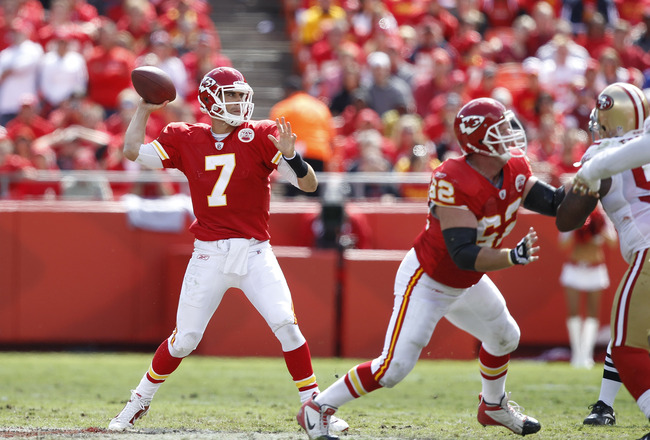 KANSAS CITY, MO - SEPTEMBER 26: Matt Cassel #7 of the Kansas City Chiefs passes the ball against the San Francisco 49ers at Arrowhead Stadium on September 26, 2010 in Kansas City, Missouri. The Chiefs won 31-10. (Photo by Joe Robbins/Getty Images)