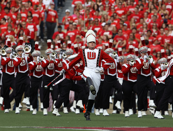MADISON, WI - SEPTEMBER 18: A drum major leads the Wisconsin Badger band onto the field before a game against the Arizona State Sun Devils at Camp Randall Stadium on September 18, 2010 in Madison, Wisconsin. Wisconsin defeated Arizona State 20-19.  (Photo