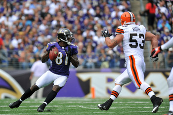 BALTIMORE - SEPTEMBER 26:  Anquan Boldin #81 of the Baltimore Ravens passes against the Cleveland Browns  at M&T Bank Stadium on September 26, 2010 in Baltimore, Maryland. The Ravens defeated the Browns 24-17. (Photo by Larry French/Getty Images)
