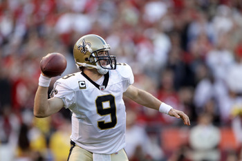 SAN FRANCISCO - SEPTEMBER 20:  Drew Brees #9 of the New Orleans Saints in action during their game against the San Francisco 49ers at Candlestick Park on September 20, 2010 in San Francisco, California.  (Photo by Ezra Shaw/Getty Images)