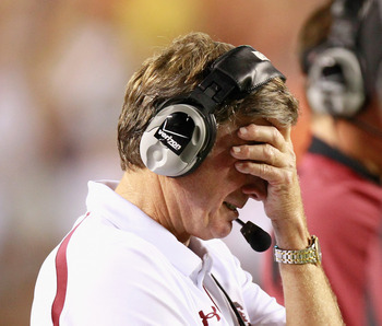 AUBURN, AL - SEPTEMBER 25:  Head coach Steve Spurrier of the South Carolina Gamecocks reacts after a turnover to the Auburn Tigers at Jordan-Hare Stadium on September 25, 2010 in Auburn, Alabama.  (Photo by Kevin C. Cox/Getty Images)