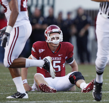 FAYETTEVILLE - SEPTEMBER 25: Ryan Mallett #15 of the Arkansas Razorbacks looks on after throwing an interception late in the game against the Alabama Crimson Tide at Donald W. Reynolds Razorback Stadium on September 25, 2010 in Fayetteville, Arkansas. Ala