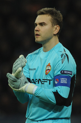 MILAN, ITALY - MARCH 31:  Igor Akinfeev of CSKA Moscow looks on during the the UEFA Champions League Quarter Finals, First Leg match between FC Internazionale Milano and CSKA Moscow at Giuseppe Meazza Stadium on March 31, 2010 in Milan, Italy.  (Photo by
